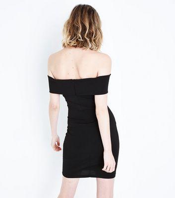 Cameo Rose Black Plunge Neck Dress New Look