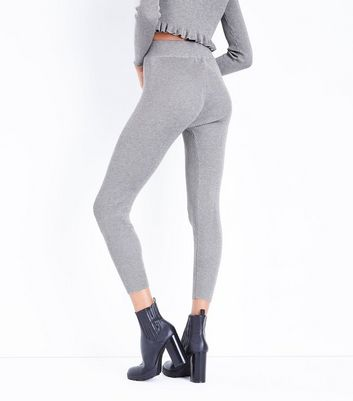 Cameo Rose Pale Grey Ribbed Leggings New Look