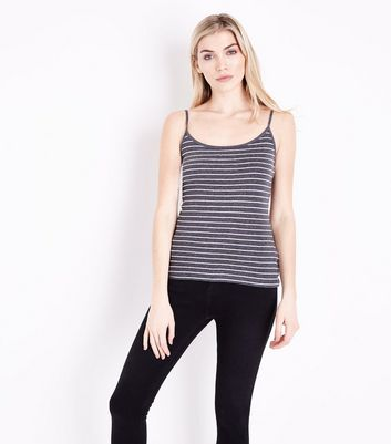 Dark Grey Marl Stripe Cami