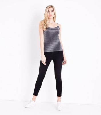Dark Grey Marl Stripe Cami New Look