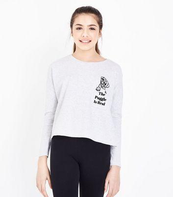 Teens Pale Grey Pug Pyjama Set New Look