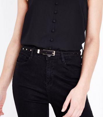 Black Suedette Studded Skinny Belt New Look