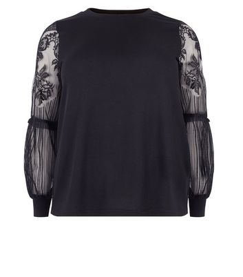 Curves Black Lace Balloon Sleeve Jumper New Look