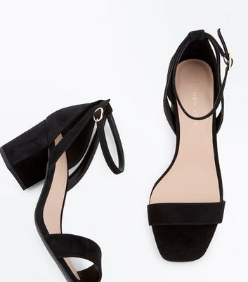 Wide Fit Black Suedette Square Toe Heeled Sandals New Look