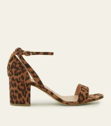 Wide Fit Stone Leopard Print Suedette Square Toe Heels