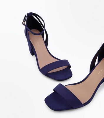 Wide Fit Navy Suedette Square Toe Heeled Sandals New Look