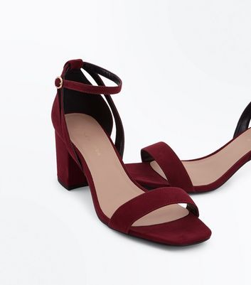 Wide Fit Burgundy Suedette Square Toe Heeled Sandals New Look