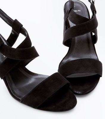Wide Fit Black Suedette Cross Strap Heeled Sandals New Look