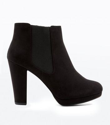 Black Suedette Platform Heeled Chelsea Boots New Look