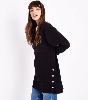 Black Popper Side Tunic Top New Look