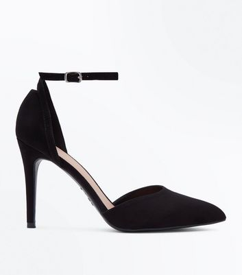 Black Suedette Ankle Strap Pointed