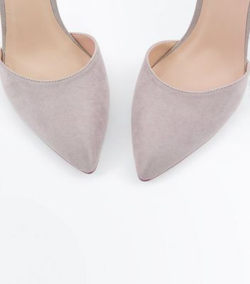 Grey Suedette Ankle Strap Pointed Courts New Look