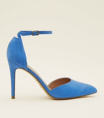 Blue Suedette Ankle Strap Pointed Courts