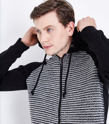 Black Knitted Front Zip Hoodie New Look