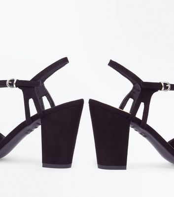 Black Suedette Cut Out Side Block Heel Sandals New Look