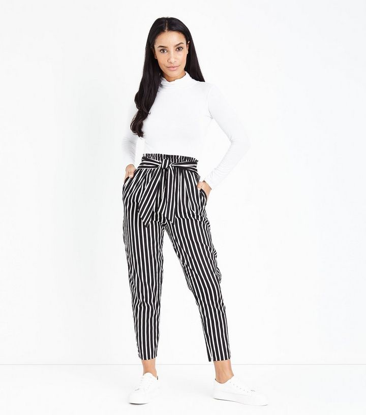 4dc6e848719 Black Stripe Print Tie Waist Trousers | New Look