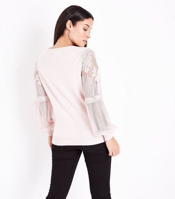 Maternity Shell Pink Lace Balloon Sleeve Jumper New Look