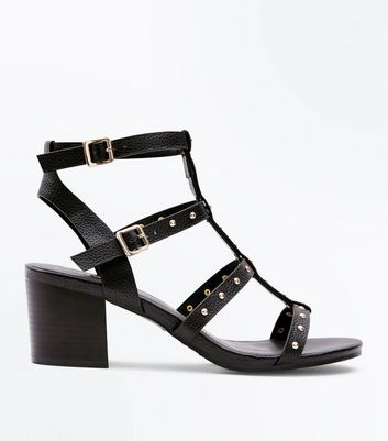 Black Studded Block Heel Gladiator Sandals New Look