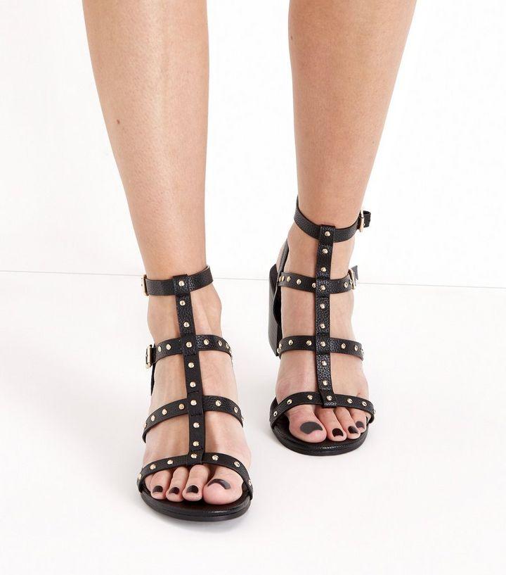 c92dcebc859 Black Studded Block Heel Gladiator Sandals