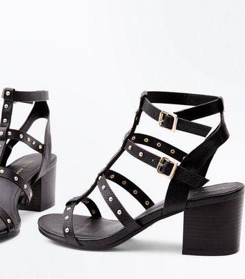 Black Studded Block Heel Gladiator