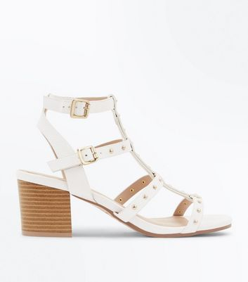 White Studded Block Heel Gladiator Sandals