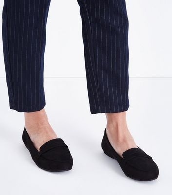 Wide Fit Black Suedette Strap Front Loafers New Look