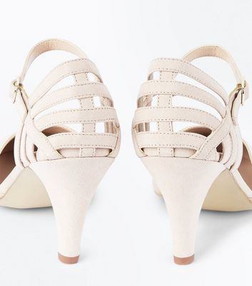 Extra Wide Fit Nude Suedette Cage Back Courts New Look