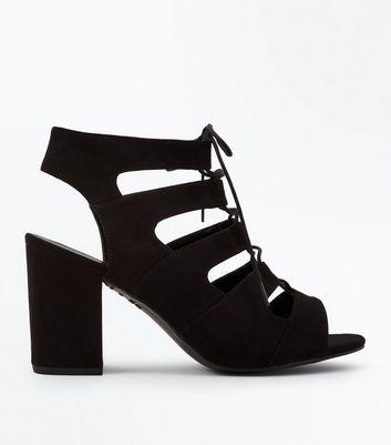 Wide Fit Black Suedette Lace Up Sandals