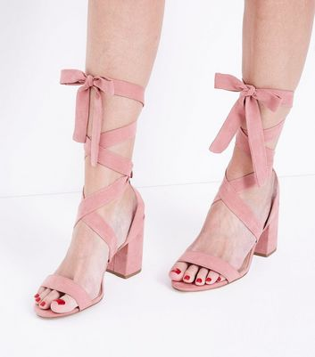 Wide Fit Pink Suedette Ankle Tie Heeled Sandals New Look
