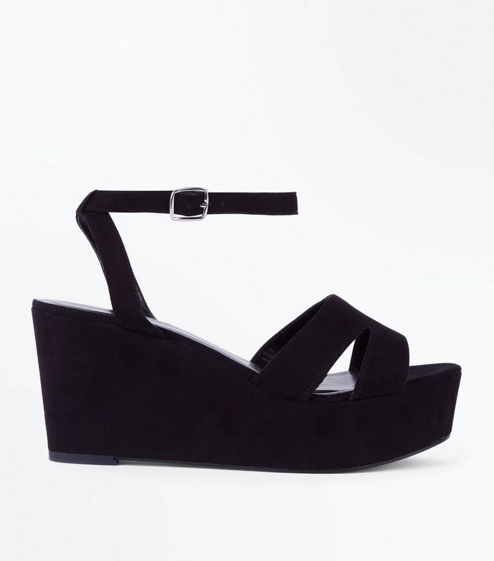 ba56884c4fb Wide Fit Black Suedette Flatform Wedge Sandals