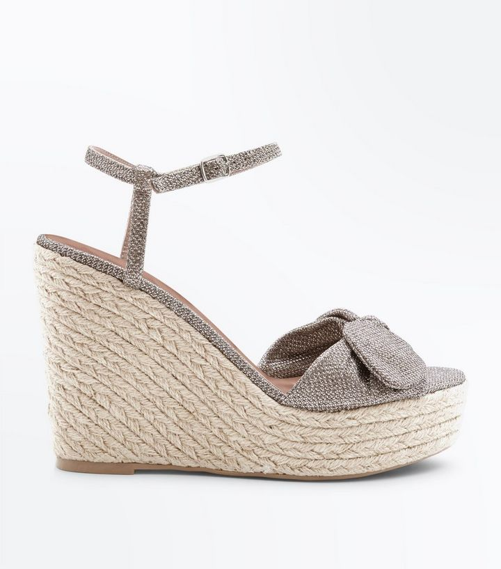 usa cheap sale reputable site outlet store Gold Glitter Bow Strap Straw Wedges Add to Saved Items Remove from Saved  Items