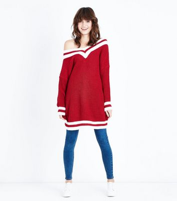 Cameo Rose Red Longline Cricket Jumper New Look