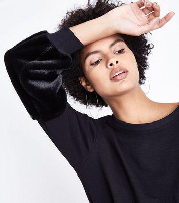 Cameo Rose Black Faux Fur Sleeve Sweatshirt New Look