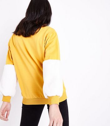 Cameo Rose Yellow Faux Fur Sleeve Sweatshirt New Look