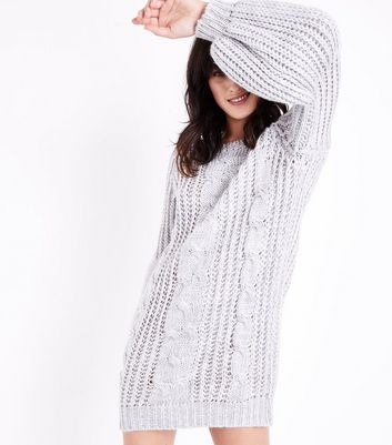 Cameo Rose Grey Cable Knit Jumper Dress New Look