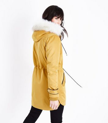 Mustard Yellow Parka Jacket New Look