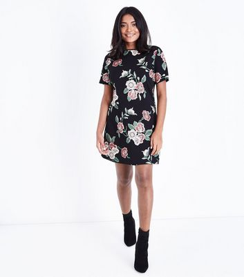 Petite Red Floral Puff Print Tunic Dress New Look
