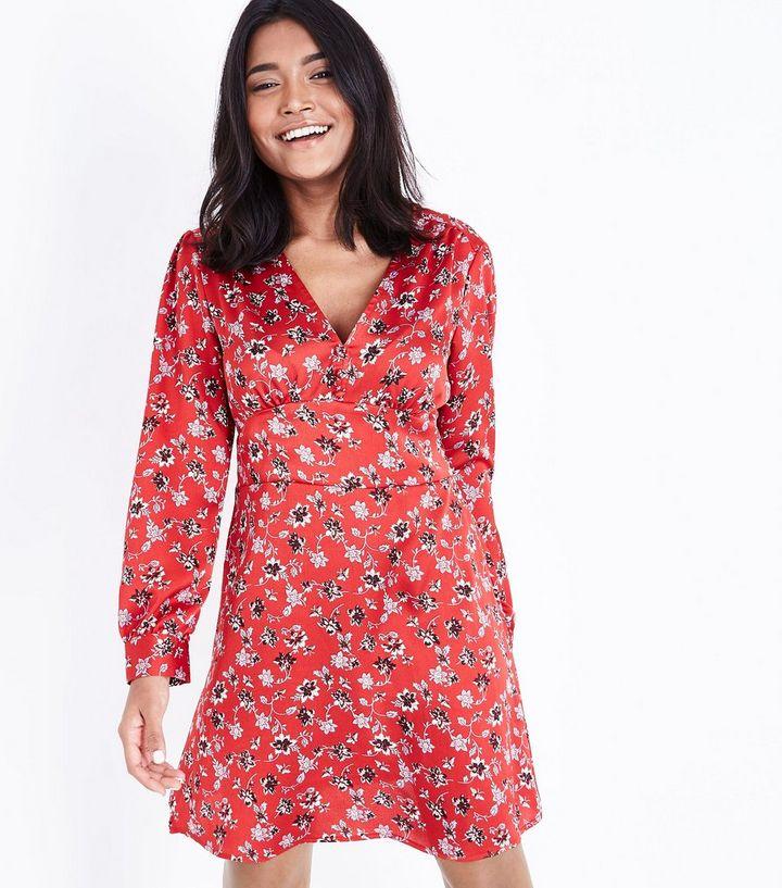 22ccd6a718b0 Petite Red Floral Print Long Sleeve Tea Dress