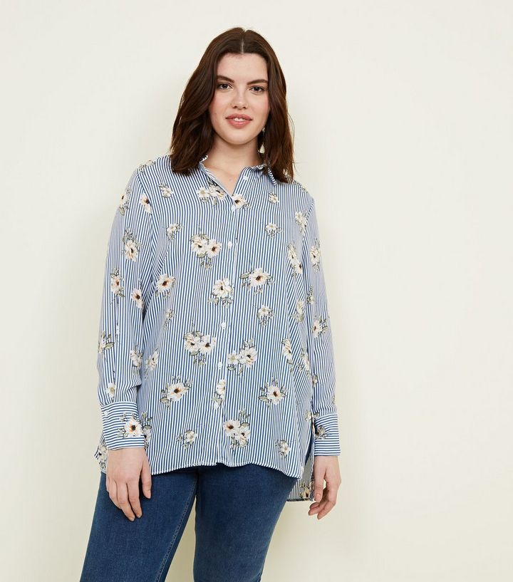 0a076991c92 Curves Blue Floral and Stripe Print Shirt