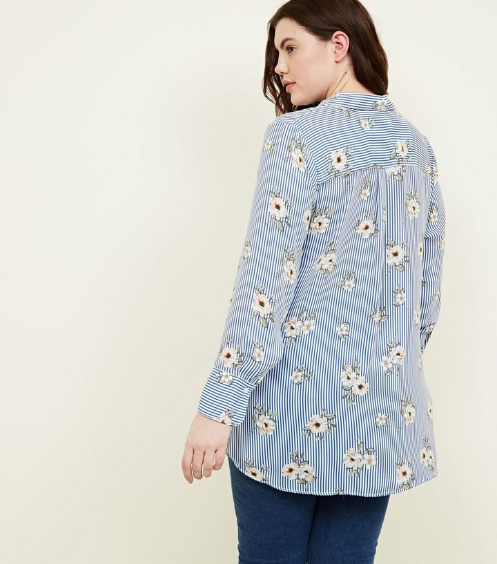 9e58230b8d2 ... Curves Blue Floral and Stripe Print Shirt. ×. ×. ×. Shop the look