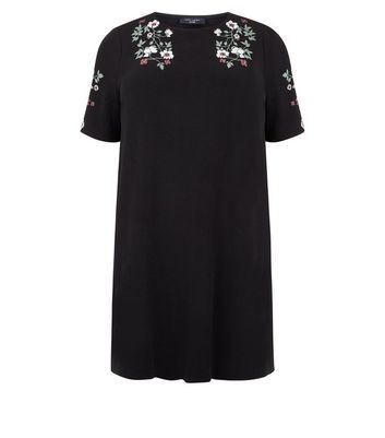 Curves Black Floral Puff Print Tunic Dress New Look