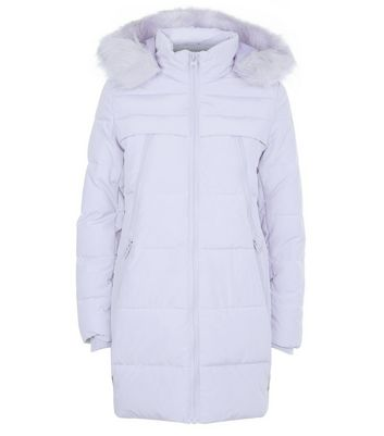 Lilac Faux Fur Trim Longline Puffer Jacket New Look