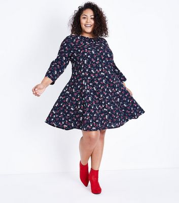Blue Vanilla Curves Black Floral Swing Dress New Look