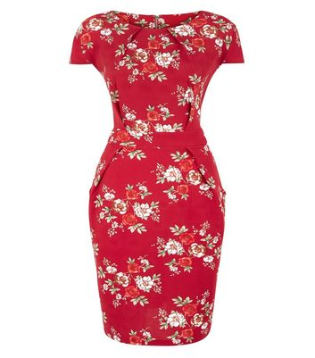 Blue Vanilla Curves Red Floral Tie Back Tulip Dress New Look