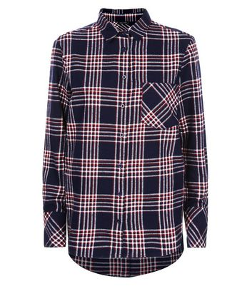 Navy Check Cotton Shirt New Look