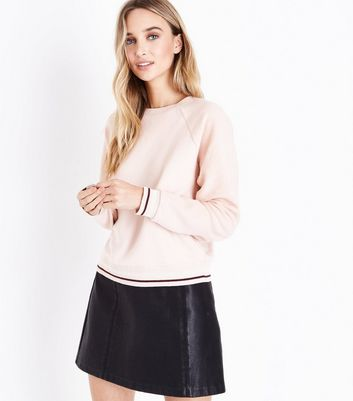 Shell Pink Reverse Sleeve Sweatshirt New Look