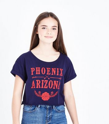 Teens Navy Arizona Crop T-Shirt New Look