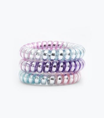 3 Pack Multi Coloured Ombre Spiral Hair Bobbles New Look