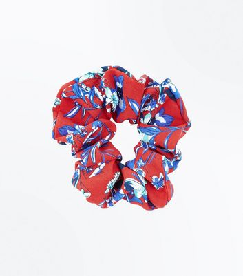 Red Floral Scrunchie New Look