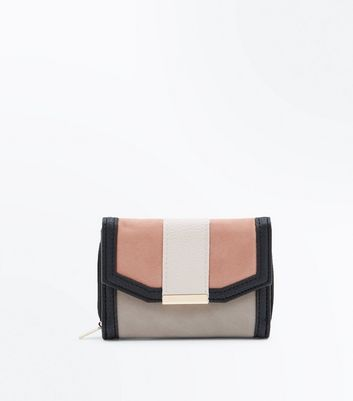 Pink Colour Block Mini Purse